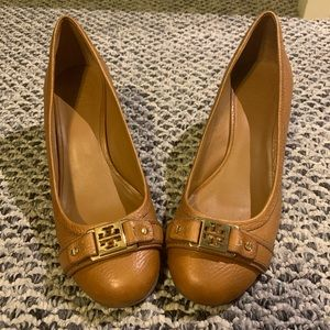 Tory Burch - BARELY WORN Brown Leather Wedges